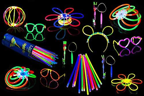 Glow Sticks Kit de fiesta de alta calidad de 220 piezas – Pulseras brillantes, collares, gafas redondas, gafas de corazón, diademas, bolas brillantes + cohetes de cielo LED