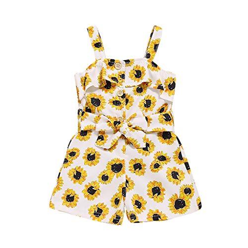 Moneycom❤Enfant en Bas âge Enfants bébé Filles sans Manches Sangle Combinaison Floral Bowknot vêtements Jaune(18-24 Mois)