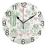 Kncsru Bonito Reloj de Pared Redondo de Cactus floreciente, silencioso, sin tictac, Funciona con Pilas para decoración del hogar, 9,88 Pulgadas
