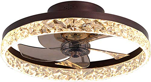 Ceiling Fan with Lights, LED Remote Control 3-Color Lighting 3 Wind speeds, Invisible Blades Flush Mount Ceiling Light, Enclosed Metal Shell Low Profile Fan,19.7'',Coffee Gold