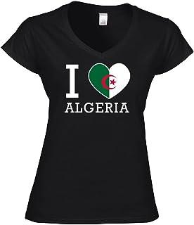 1c118575dca947 Mygoodprice T-Shirt Femme col V i Love Algerie Drapeau