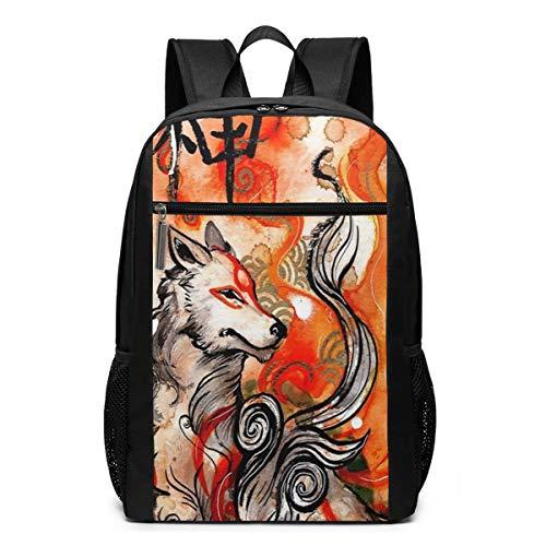 Unisex Okami Amaterasu Drawstring Backpack School Book Bag 17 Inch
