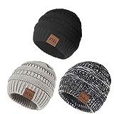 DYKL 3 Packs Kids Winter Warm Knit Hats for Boys Girls Soft Toddler Beanies for Boys
