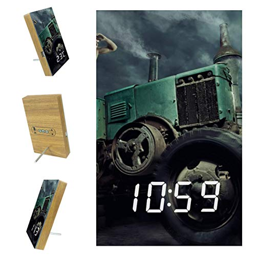 AISSO Young Handsome Man Driving Tractor LED Alarm Clocks Digital for Bedrooms Kitchen Office Custom Home Decor