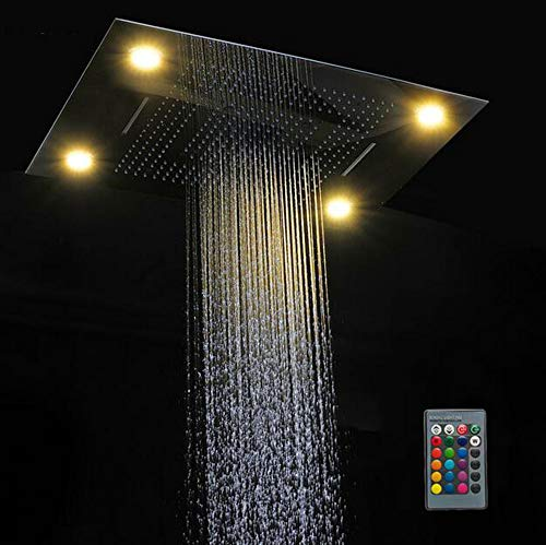 Read About MEILINYU Multi Function Led Light Shower Head 600800mm Ceiling Rain Shower Remote Control...