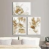 FUMOJI Cuadros sobre lienzo, póster de hojas doradas y flores, impresión artística, playa, paisaje, ...