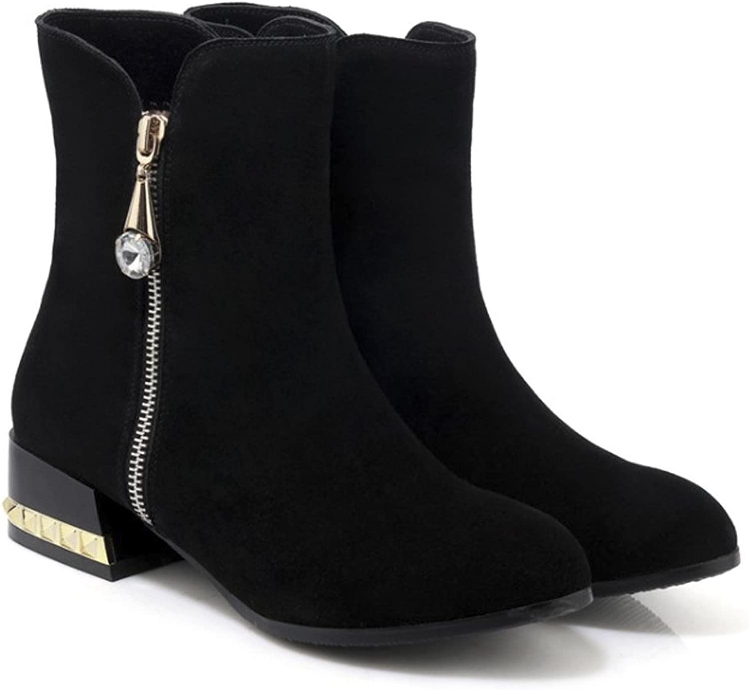 QZUnique Women Fashion Genuine Leather Chunky Heel Round Toe Ankle Booties Zipper Martin Boots