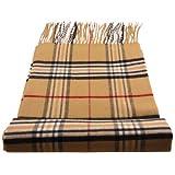 TigerTie - bufanda de diseño en beige camel marrón rojo negro antracita a cuadros - Cashmink