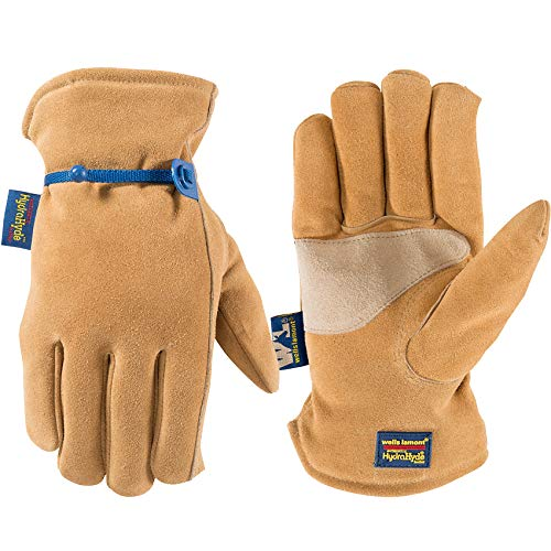 Men's Lined HydraHyde Winter Leather Work Gloves with Adjustable Wrist, Large (Wells Lamont 1194)
