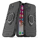 La custodia per iPhone 11 presenta un design ultra-sottile a doppia cover e una robusta staffa ad anello in metallo a 360 ° per l'uso con componenti magnetici del veicolo per la robustezza (nero)
