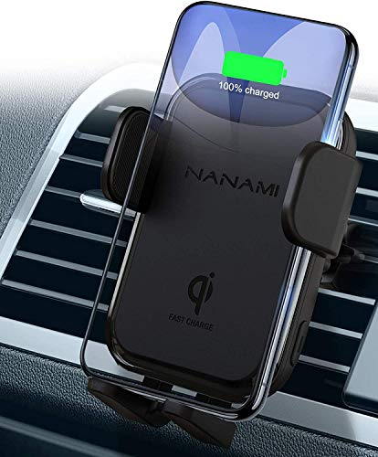 NANAMI Kabelloses Auto Ladegerät,7.5W/10W Fast Wireless Charger QI Ladestation Auto KFZ Handy Halterung Induktive Autohalterung für iPhone 12/11/11Pro/XS/XR/8 Plus, Galaxy S21 S20 S10 S9/8, Note 20/10