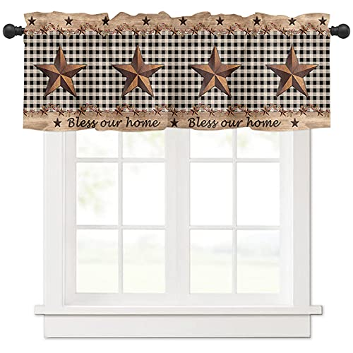 Valance Curtain for Windows Country Western Texas Metal Star,Privacy Panel Rod Pocket Window Treatment Bless Home Vintage Wood Panel Black Grid,Short Valances for Bathroom Kitchen Bedroom 54x18in