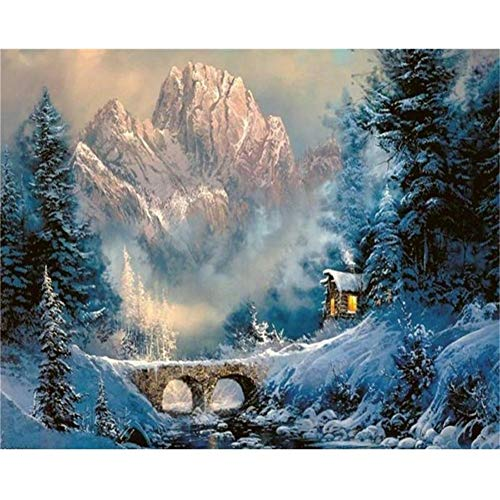5D DIY Diamond Painting by Number Kit Deep Forest House Square Drill,90x70cm Adults and Kids Full Drill Beads Crystal Rhinestone Embroidery Cross Stitch Supplies Arts Craft for Home Wall Decor U2778