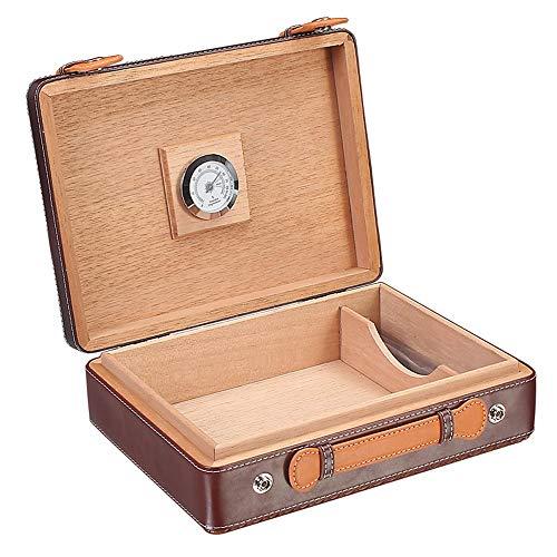 Anmy Zigarrenschachtel Leder Zigarre Storage Box Zedernholz Humidor for Home Reise 30 Kapazität (Color : One Color, Size : 270x200x85mm)
