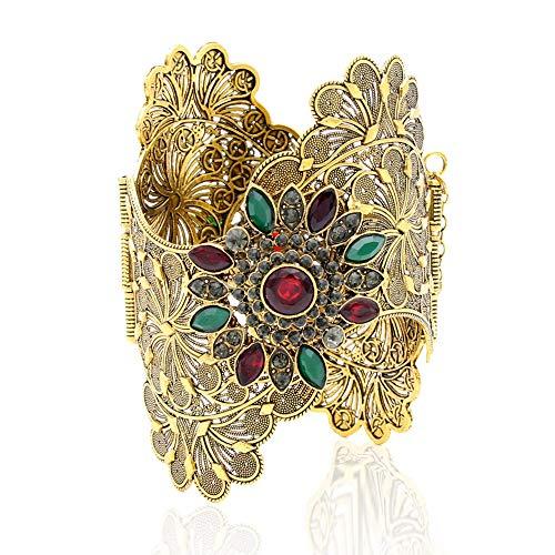 Armband,Vintage Indien Frauen Armband Armbinde Gewellte Rand Plus Size Armreif Open Type Roma Blume Farbe Gold Manschettenknöpfe Armreifen Arabischen Tanz Schmuck