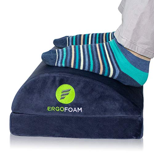 ErgoFoam Adjustable Desk Foot Rest for Added Height | Orthopedic Teardrop Design | Large Premium Foot Rest Under Desk | Most Comfortable Foot Stool Under Desk for Lumbar, Back, Knee Pain (Navy Blue)
