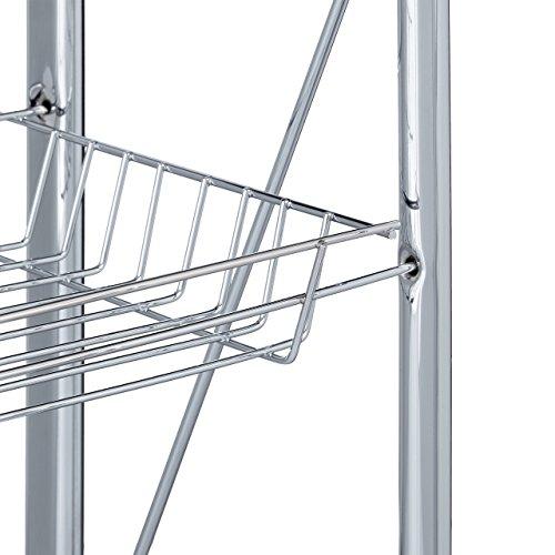 Relaxdays Servierwagen klappbar Weiß – 4 Rollen, Metall, 2 Böden, Korb – Küchenrollwagen – in drei Farben wählbar - 2