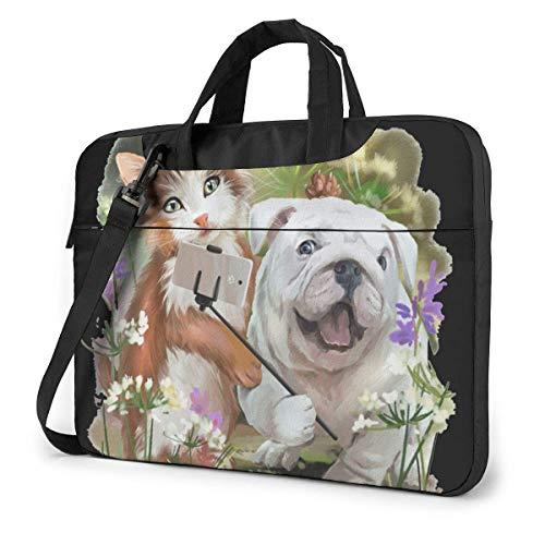 Bolsa para portátil Divertida Bolsa de Mensajero de Hombro con autofoto para Perros y Gatos, Funda de Transporte para portátil con cinturón de Carro de 15.6 Inch