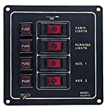 Sea Dog 422010-1 Aluminum Vertical 4-Switch Panel