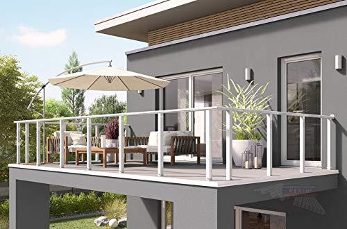 REXOguard Balkongeländer Bausatz 3m, Aufsatz-Konsole rund (Weiß)