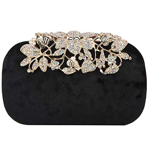 Bonjanvye Glitter Velvet Flower Clutch Daily Handbag for Girls Black