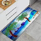XXX Alfombra de Cocina,Playa Bikini,Alfombrilla de Cocina Antideslizante Gruesa(45*120cm