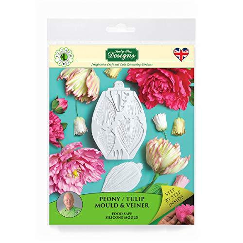Moule à glaçage en silicone pivoine/tulipe pour pâte à sucre et veineuse, fleur Pro par Nicholas Lodge pour décoration de gâteaux, pâte à sucre et bonbons, de qualité alimentaire, Grey