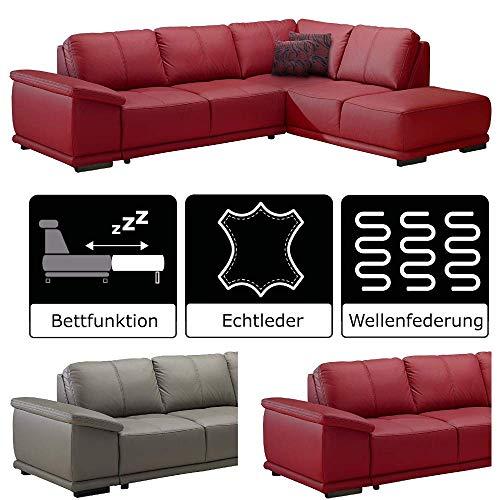 Cavadore Ecksofa Calypse mit Bett / Ledercouch mit Ottomane rechts / Modernes Design / 273 x 83 x 214 (BxHxT) / Leder und Kunstleder rot
