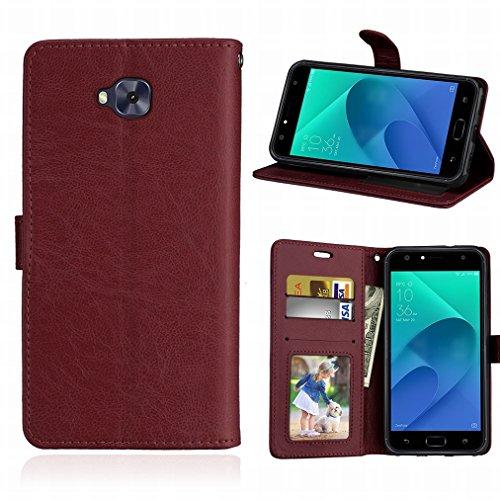 Laybomo Schuzhülle für Asus Zenfone 4 Selfie ZD553KL Hülle Ledertasche Weiches Gummi Silikon TPU Beutel Stehen Bilderrahmen Brieftasche Schale Tasche Handyhülle für ZD553KL (Braun)