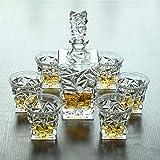 Decanter per whisky, set di decanter per whisky, decanter in cristallo per alcol con tappo, decanter da 750 ml e bicchieri da 320 ml