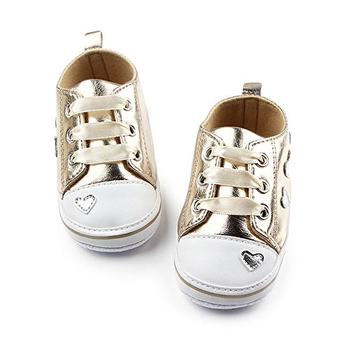 Antheron Baby Shoes - Infant Boys Girls Anti-Slip Sneakers Soft Sole Toddler First Walker Crib Shoes(Golden,6-12 Months)