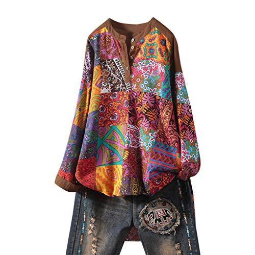 SALUCIA Boho Bluse Damen Große Größen Rundhals Langarm Afrikanische Druck Knöpfe Hemdbluse Dashiki Longbluse Langarmshirt Shirts Top Oberteil