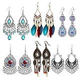 6 Pairs Vintage Drop Dangle Earrings for Women Girls Long Bohemian Earrings Set Boho Jewelry