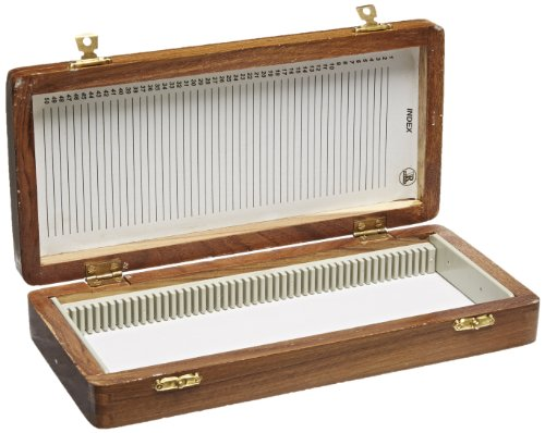 United Scientific WSB050 Wooden Slide Storage Box, Holds 50 Slides