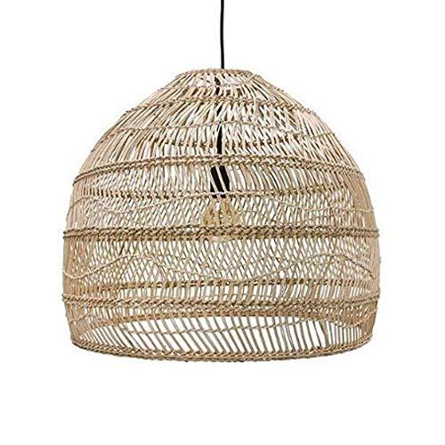 Nostalgie pastorale en osier Lustre de style chinois Creative Tissé bambou rotin en osier Lanterne plafond Lampes...