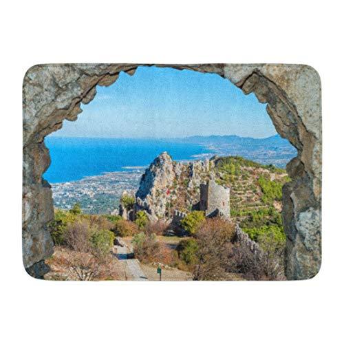 YnimioHOB Zerbini Tappeti da Bagno Tappetino per Porte per Interni ed Esterni Rovine del Castello Nord Saint Hilarion Cipro Kyrenia Arc Kirenia Tappeto per Bagno Vecchio Decor Tappeto da Bagno