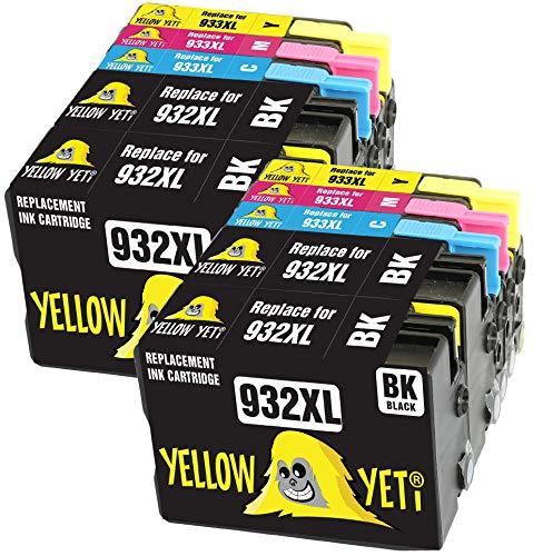 Yellow Yeti Reemplazo para HP 932 933 932XL 933XL Cartuchos de Tinta compatibles con HP Officejet 6600 6700 7110 7610 7612 7620 6100 7510 7600 (4 Negro + 2 Cian + 2 Magenta + 2 Amarillo)