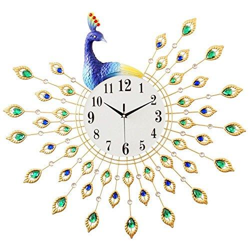 Longless Salon horloge murale métal horloge murale créative pendule de paon trois dimensions résine horloge à quartz silencieux 59 * 60 cm