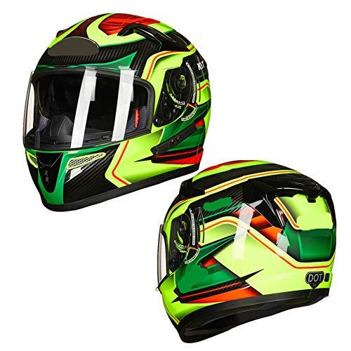 WWJIE (Grün) Integrierter Motorradhelm ECE | Scooter Motorrad-Sturzhelm Herren, Motorrad-Motocrosshelm-Set für Erwachsene Motorrad-Sturzhelm-Schutzausrüstung für Geländefahrzeuge-XL