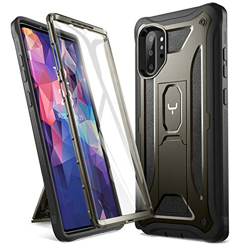 YOUMAKER Kickstand Designed for Samsung Galaxy Note 10 Plus Case, Built-in Screen Protector Work with Fingerprint ID Full Body Heavy Duty Shockproof Cover for Galaxy Note 10 Plus 6.8 Inch - Gun Metal