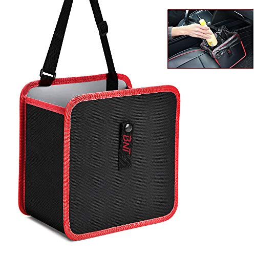 BNT Foldable Hanging Car Trash Bag Can Premium Waterproof Garbage Bag Organizer Universal Storage Bin Basket Best for Interior Car Accessories for Auto Truck Van and SUV(Red)