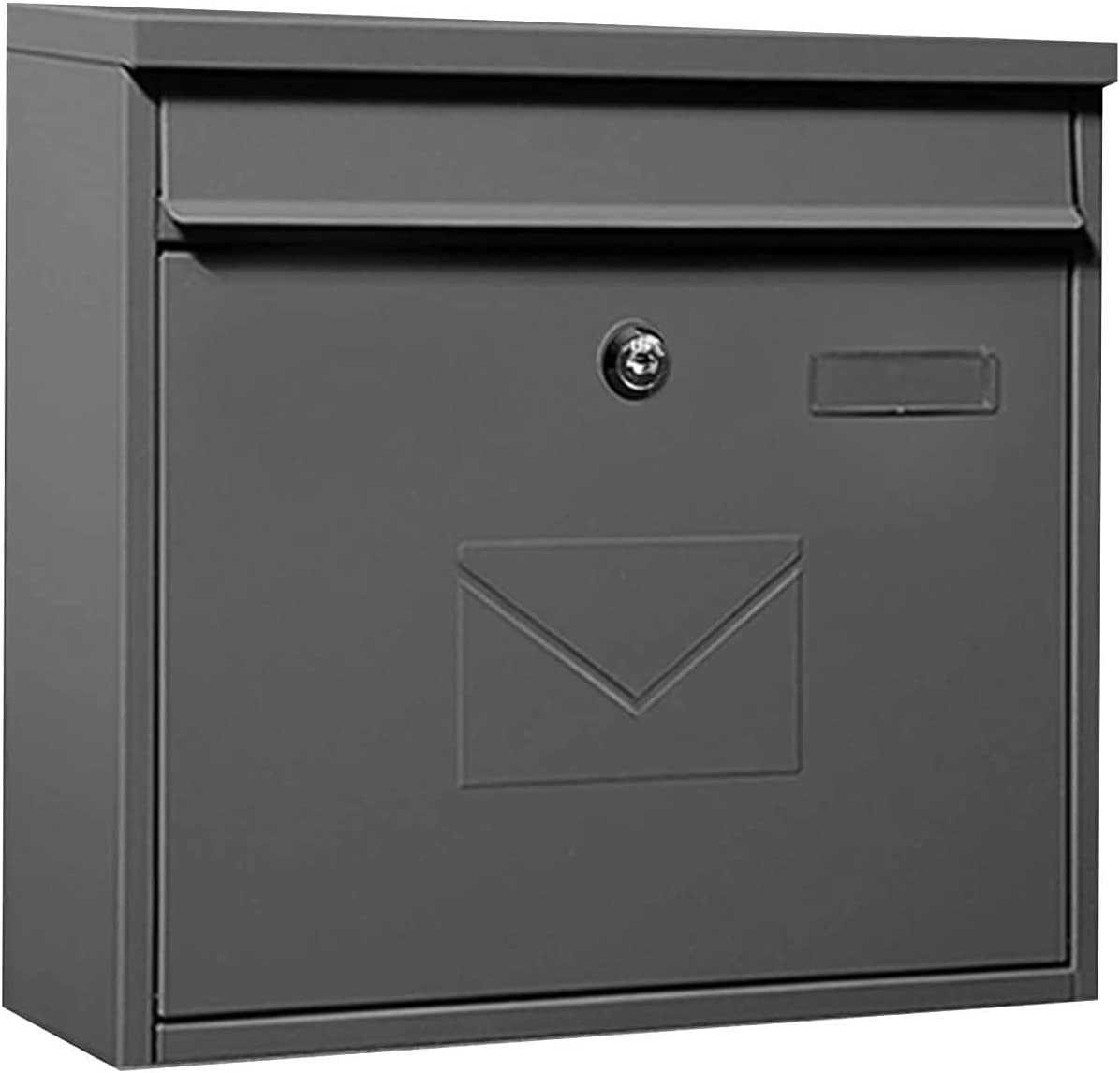 AACXRCR Outlet SALE Letter Box Max 82% OFF Modern Locking Wall Mailbox Mount Metal Grey