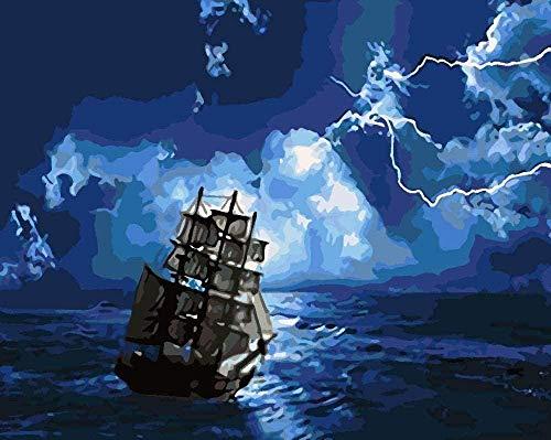HSHY Nachtblaues Seeboot Malen nach Zahlen für Erwachsene und Kinder malen Wohnzimmer Schlafzimmer Küche Dekoration Leinwand 40X50CM Rahmenlos