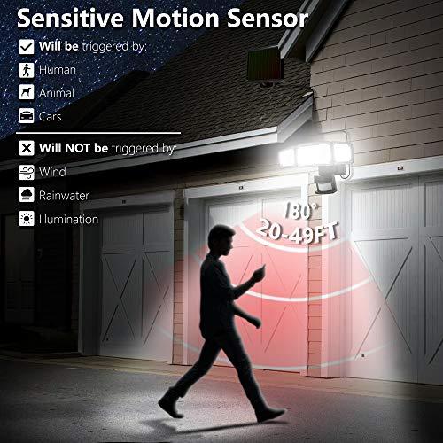 Solar Lights Outdoor, AmeriTop Super Bright LED Solar Motion Sensor Lights with Wide Angle Illumination; 1600LM 6000K, 3 Adjustable Heads, IP65 Waterproof Outdoor Security Lighting (Black)