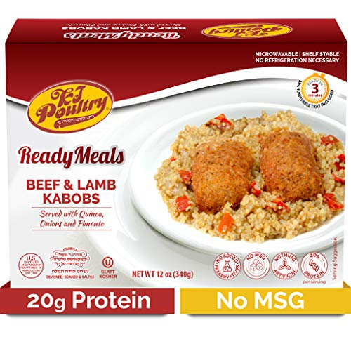 Kosher MRE Meat Meals Ready to Eat, Beef Lamb Kabob & Quinoa (1 Pack) - Prepared Entree Fully Cooked, Shelf Stable Microwave Dinner – Travel, Military, Camping, Emergency Survival Protein Food Supply