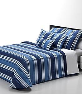 Nórdico COLORS, cama de 90 Y 105, tacto seda RAYAS ANCHAS, 180 X 220 CM. Reversible estampado color AZUL MARINO, - Isaire hogar.