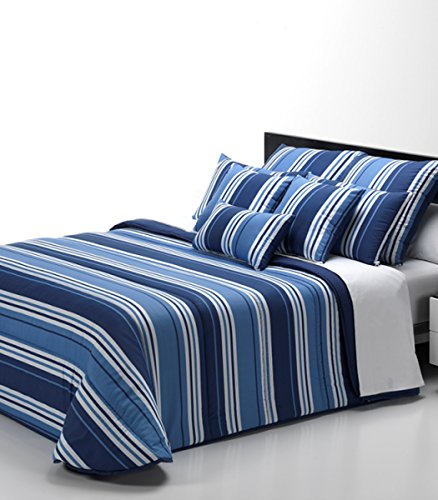 Nórdico COLORS, cama de 90 Y 105, tacto seda RAYAS ANCHAS, 180 X 220 CM. Reversible estampado color AZUL MARINO, - Isaire hogar.
