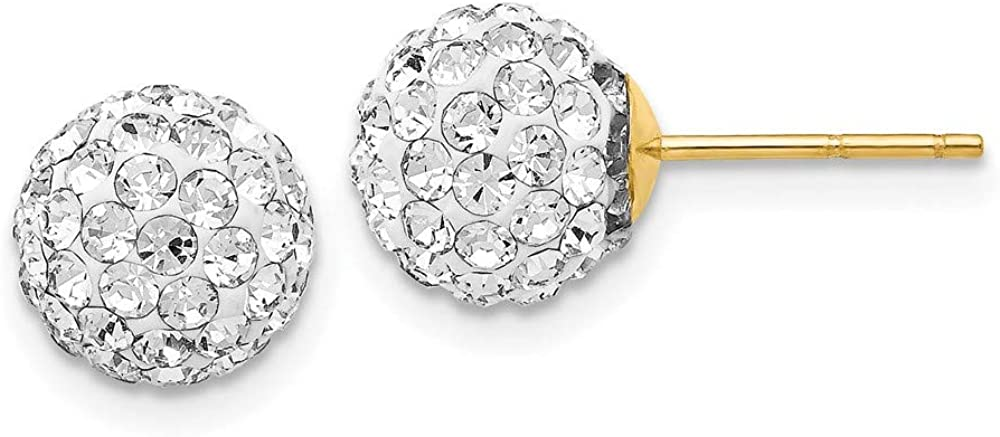 14k Yellow Gold Post Stud 8mm Crystal Ball Earrings Button Fine Jewelry For Women Gifts For Her