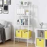 SogesHome - Estantería de 4 niveles para uso general, estantes de metal, estante de almacenamiento, estantería para el hogar, estantes de 4 niveles, color blanco, 60 x 35,5 x 147 cm, SH-LXH-TJ60W
