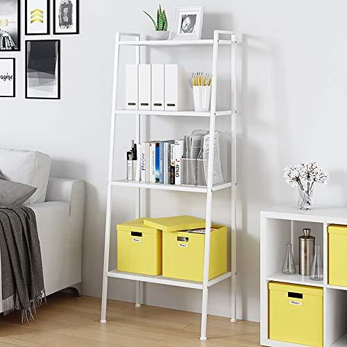 SogesHome Estantería de 4 niveles, estantes de metal, estante de almacenamiento, estantería para el hogar, estantería de almacenamiento, estantes de pie, blanco, 60 x 35,5 x 147 cm, SH-LXH-TJ60W